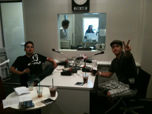"""N"" and ""A"" relaxing at InterFM studios in Roppongi"