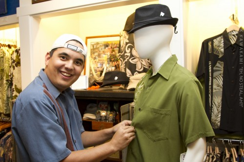 Nick dressing a mannequin