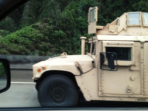 An armored patrol was training on the H3!