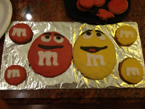 Nick's friend Marc made cookies that look exactly like the M&M guys!