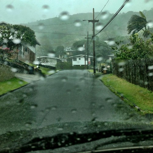 The rain in Manoa was so hard that it was almost impossible to see out of Nick's car windshield!