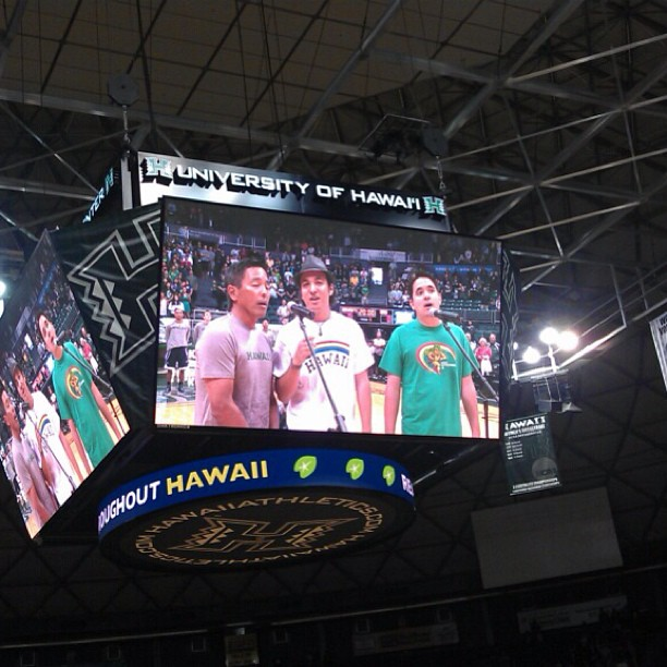 ManoaDNA, jumbotron-style!  Singing the national anthem at the UH Basketball game, last Saturday!