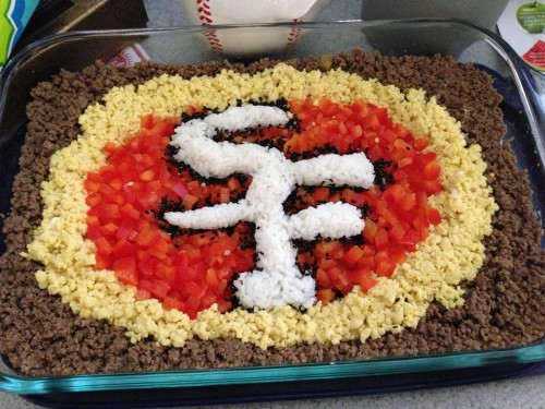 As a tribute to the Super Bowl contendors, Nick's friend created a 49er rice dish!