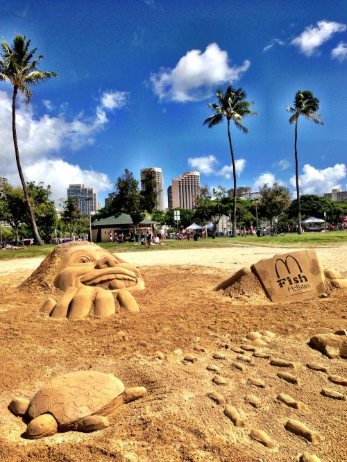 "To celebrate the launch of a new product, ""The Sand Guys"" created awesome sand sculptures at Ala Moana Beach Park!"