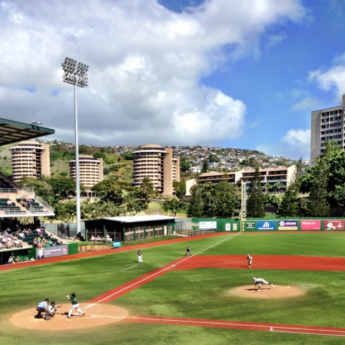 A beautiful day in Manoa as Nick enjoys a great day of baseball at Les Murakami Stadium.