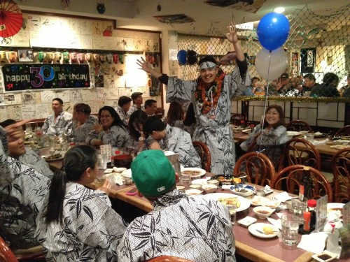 Friends and family gathered at Tokkuri-Tei restaurant to celebrate Nick's birthday.  Everyone was in a Yukata!