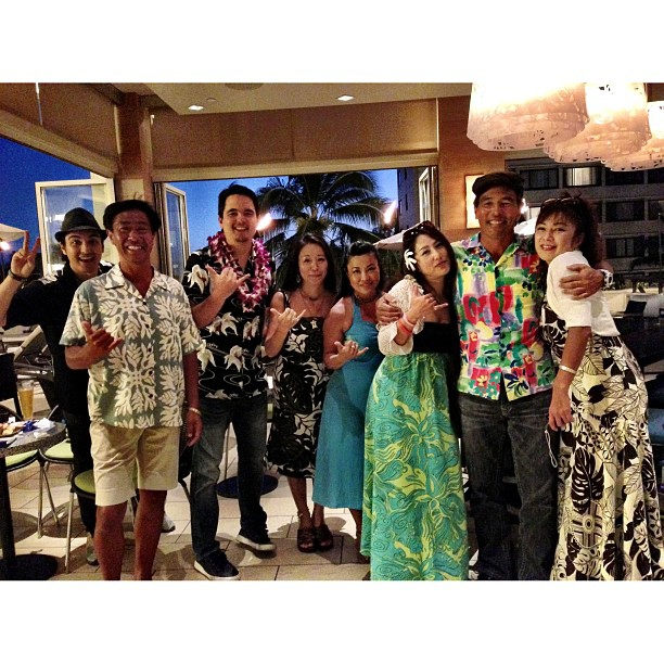 Our friends from Japan came down to @hyattwaikiki tonight!  @nikl_us got lei'd for his birthday!