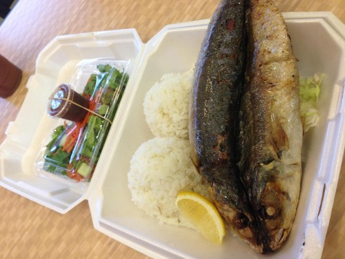 Nick's plate lunch featured whole fried Opelu fish.  Thanks Ippy's!