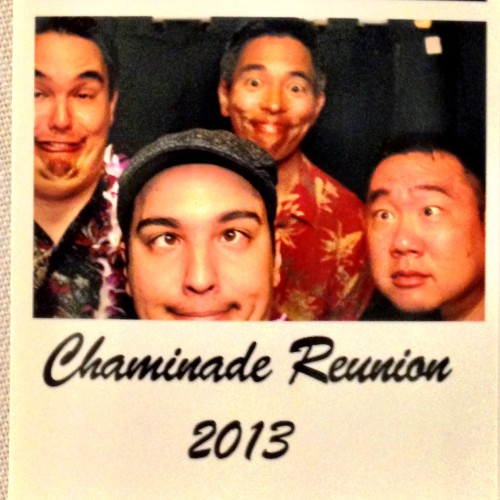 The boys of ManoaDNA pose for the camera in the photo booth of the Chaminade Alumni Luau!
