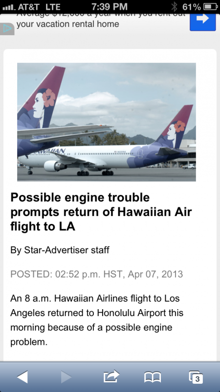 One of the top stories was the Hawaiian Airlines flight that we were on!