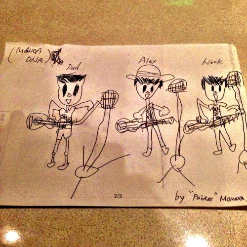 Our little fan, Manoa, stopped by Hyatt and drew this picture of us!
