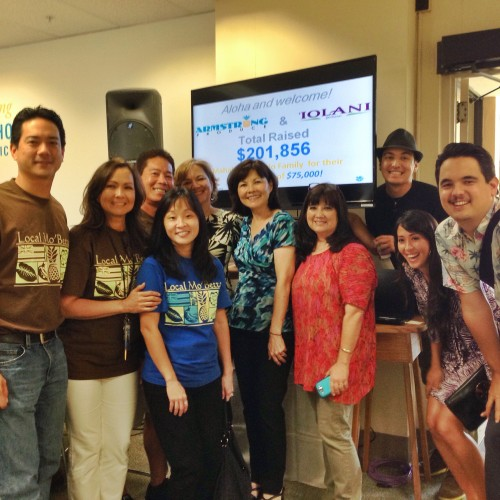 ManoaDNA, along with IOLANI Sportswear and Armstrong Produce, work the phones to raise money during a recent radiothon!